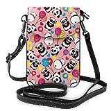 Lawenp Sac à main en cuir pour téléphone, pandas avec coeurs petit sac à bandoulière mini pochette pour téléphone portable sac à bandoulière pour femme