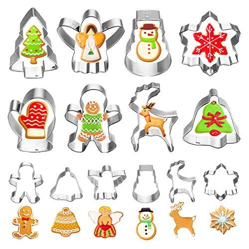 VHAUSE 14er Set Weihnachten Keksausstecher aus Edelstahl - 8 Große und 6 Klein Plätzchen Ausstecher mit Weihnachtsbaum Lebkuchenmänner Rentier Schneeflocke Ausstechformen für Backen mit Kinder