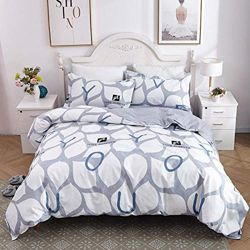 TAYIBO Mädchen Mikrofaser Bettbezug Deckenbezug,Bettgarnitur aus Baumwolle, Bettlaken für Schlafsäle, Bettbezug und Kissenbezug-Q_200 * 230cm + 230 * 230cm