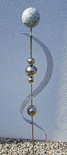 Skulptur Merkur Granit Weiss Edelstahl 150 cm Beetstecker Gartenstecker