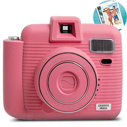 SHARPER IMAGE Instant Camera with Flash and 5 Lighting Modes, Compatible with Instant Mini Film, Prints Photos in Seconds, Capture Memories Indoors or Outdoors! – Pink