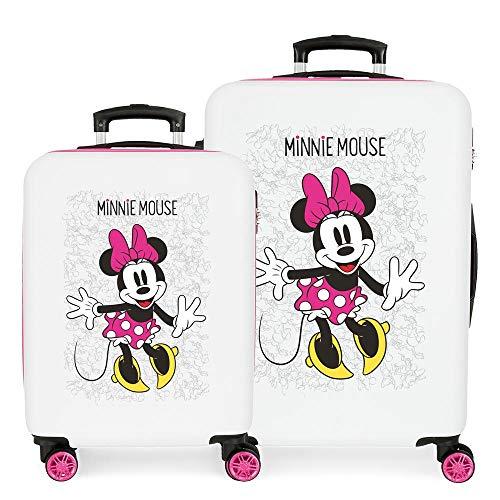 Disney Minnie Enjoy the Day Kofferset Weiß 55/68 cms Hartschalen ABS Kombinationsschloss 104L 4 Doppelräder Handgepäck