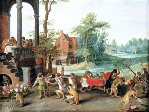 Poster 90 x 70 cm: EIN Spottgedicht auf den Unsinn der Tulpenmanie von Jan Brueghel d.Ä. / Bridgeman Images - hochwertiger Kunstdruck, neues Kunstposter