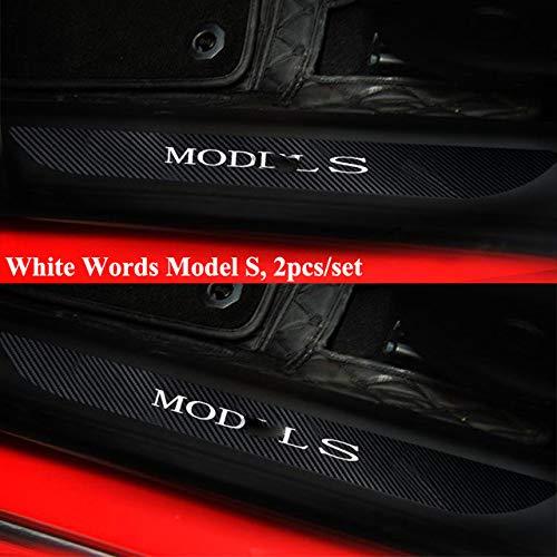YXSMNB 2 stuks/set van koolstofvezel in de stijl van de autodeur, voordeur, Sill, Welkom pedaal, zelfklevend, beschermende afdekking, styling, autoaccessoires, voor Tesla model S