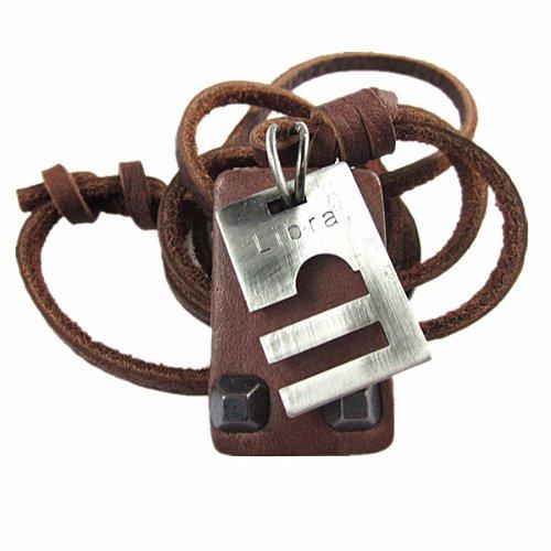Original Tribe てんびんざ 調節可能な茶色の革、合金ペンダントネックレスの男の子 さんのネックレスニュートラルネックレスファッションネックレス PL0359