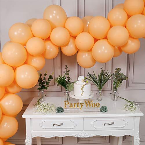 PartyWoo Luftballons Pfirsich, 80 Stück 10 Zoll Luftballons Matt, Luftballons Peach, Luftballons Apricot, Ballon Apricot, Matt Luftballons für Hochzeit Deko, Erster Geburtstag Mädchen Deko, Taufe Deko