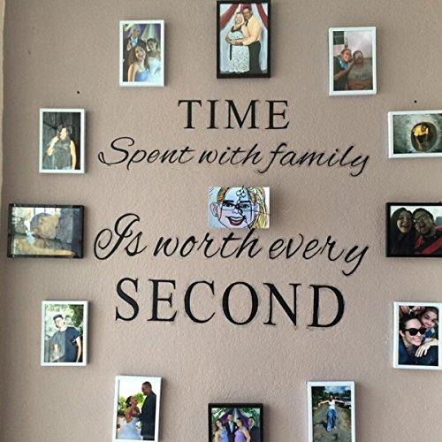 VORCOOL Décalcomanies murales familiales Le temps passé en famille vaut chaque seconde Autocollant mural en vinyle