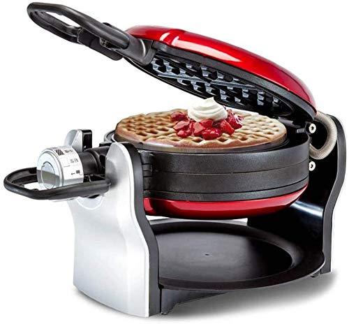 Waflera 1200W Waffle cafetera eléctrica Waffle Horno, 180 ° de rotación del tercer engranaje de control de temperatura de doble capa Constant temperatura de calentamiento Revestimiento antiadherente w