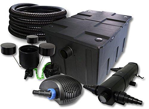 SunSun Filter Set für 60000l Teich mit 18W Teichklärer und 40W ECO Pumpe 25m Schlauch Skimmer