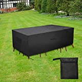 LiDiVi Outdoor Furniture Covers Waterproof Cover Patio Furniture Covers Heavy Duty Tough Canvas Dustproof Dining Table Chair Set Cover Square Patio Cover with Airvents Drawstring 127 x 64 x 29 Inch