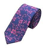 Men Handmade Silk Tie Fashion Blue Rose Small Floral Wedding Party Dance Necktie