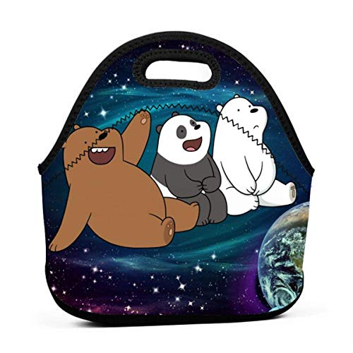 Starry We Bare Bears Portable Background Lunch Bag Soft Neoprene Lunch Box Lightweight Tote,Reusable Fashion Lunch Bags for Women/Man/Student/Child/School/Office