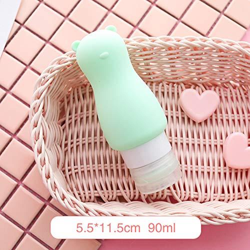 XINGKEJI siliconen reisflessen set lekvrij reiscontainers voor toiletten navulbaar schattig konijn/beer reiscontainers voor shampoo, conditioner, vloeistof, lotion
