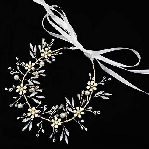 WUQIUYU Hecha a Mano romántica Rosa Rubia con Cinta de Perlas Diadema de Boda Tocado de Desfile de Novia Tocado de Mujer joyería |Accesorios para el Cabello