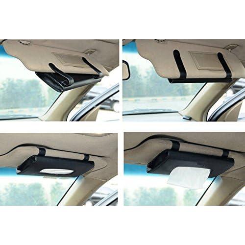 amiciAuto Car Sun Visor Tissue Paper Box Case Auto Interior Decoration Accessories Holder (Black)