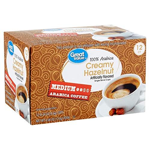 Great Value 100% Arabica Creamy Hazelnut Coffee Pods, Medium Roast, 12 Count- 0.34 oz each (Pack of 2)