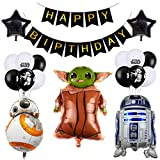 Happy Birthday Set Star Wars balloons for Kids Birthday Baby Yoda Theme Party Decorations