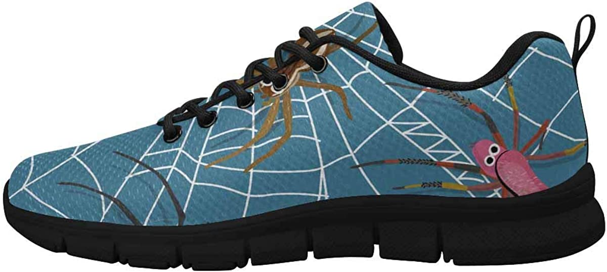 INTERESTPRINT Cartoon Spiders and Spider Web Women's Breathable Comfort Mesh Fashion Sneakers