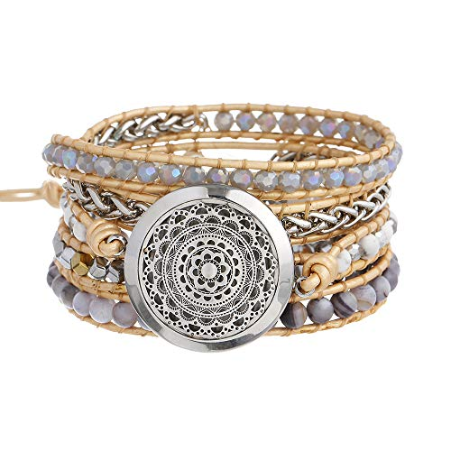 Aromatherapy Essential Oil Diffuser Bracelet, Stainless Steel Locket Stone Bead Wrap Leather Unisex Bracelet with 7 Color Felt Pads