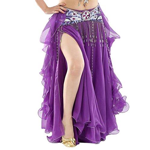 YuanDian Mujer Profesional Color Sólido Gasa Danza Del Vientre Alta Falda de Hendidura Swing Maxi Falda Ropa Danza Moderna Morado Oscuro(Sin incluir el cinturón)