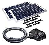 Solariver Solar Water Pump Kit - 900GPH Submersible Water Pump, two 35 Watt Solar Panels for Sun Powered Waterfalls, Streams,...
