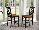 East-West Furniture QUS-BLK-W Quincy counter height chairs-Wooden Seat and Black Hardwood Frame counter height bar chairs set of