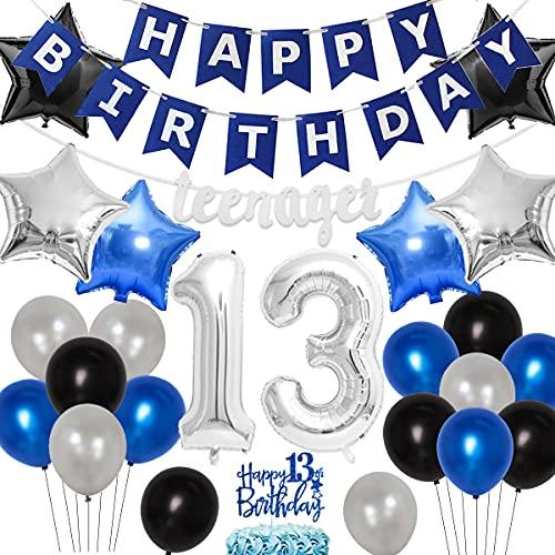 Decoración fiesta cumpleaños número 13 niños, azul y plateado, suministros cumpleaños oficiales adolescentes, pancarta cumpleaños, guirnalda oficial adolescentes, decoración tartas, número 13 globos