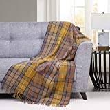 Wool Throw Blanket- Scottish Tartan Plaid Thermal Throw Knee Blanket Made of Merino Wool 30 x 69 Inches, Natural Buchanan
