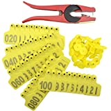 WMYCONGCONG 1-100 Number Plastic Livestock Cow Cattle Ear Tag Animal Tag Yellow and 1pcs Ear Tag Applicator