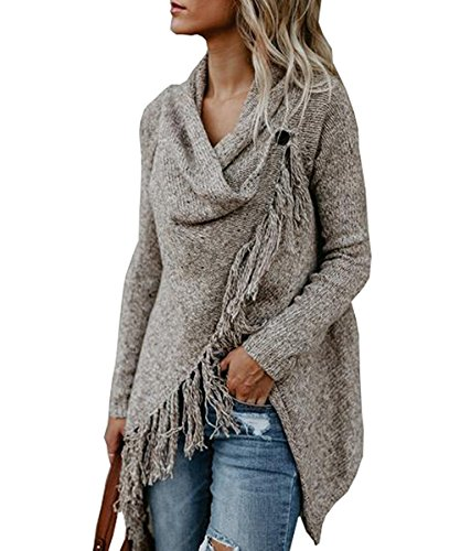 Fantastic Zone Women's Long Sleeve Speckled Fringe Open Front Cardigan Sweaters for Women Khaki