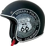 AFX FX-76 Route 66 - Casco de motocicleta de perfil bajo, color negro