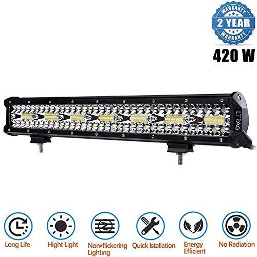 LED Arbeitsscheinwerfer, LTPAG 20 Zoll 420W Zusatzscheinwerfer 36000LM 6000K IP68 Wasserdicht Offroad Scheinwerfer Arbeitslicht mit 140 LEDs Zusatzscheinwerfer Bar