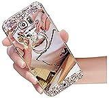 Miagon Hülle Glitzer für Samsung Galaxy S20 Plus,Kristall Glänzend Strass Diamant Überzug Spiegel Bewirken Weich Silikon Schutzhülle mit Bär Ständer