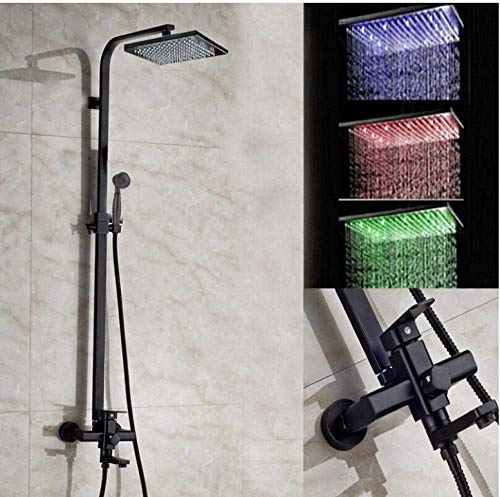 Vierkante LED douchekop mengkraan van brons met olie en handdouche A1