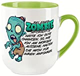vanVerden Taza curvada con texto en alemán 'Bei einer Zombie Apokalypse bin ich Morgens der Anführer' impreso por ambos lados, idea de regalo, color blanco y verde