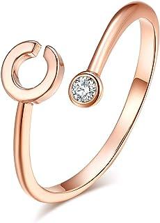 HUASAI Ross خاتم الذهب الأولي للنساء قابل للتعديل 26 خواتم الأبجدية القابلة للتكديس مع اسم أولي حلقة مفصل لإشبينة العروس (C)