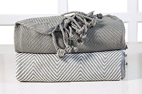 EHC Chevron algodón Single Manta de sofá, Gris, 125 x 150 cm, Pack de 2
