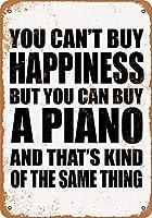 白い桜雑貨屋 看板 コカ 通販 レトロ ブリキ You Can't Buy Happiness But You Can Buy a Piano 壁飾 アンティーク メタル レトロ 看板 販売(20x30cm)