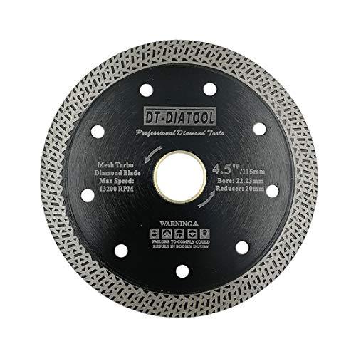 DT-DIATOOL Disco Tronzador Diamante 115 mm x 22,23 mm/20 mm Hoja de Sierra con Malla Turbo para Corte de Porcelanico Azulejos Mármol Granito Cerámica