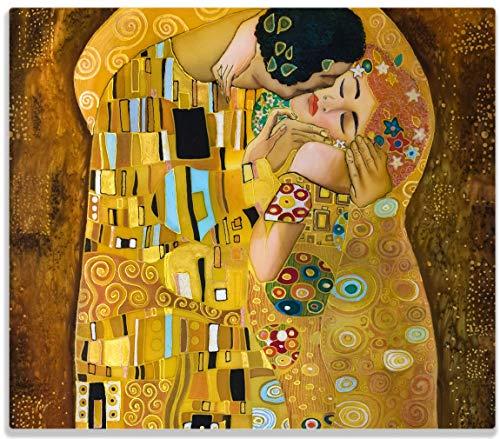 Wallario Herdabdeckplatte/Spritzschutz aus Glas, 1-teilig, 60x52cm, für Ceran- und Induktionsherde, Der Kuss von Klimt