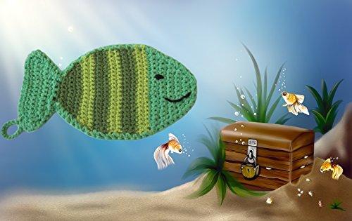 Häkelanleitung Topflappen Fisch - auch als Waschlappen nutzbar: Schritt für Schritt Anleitung