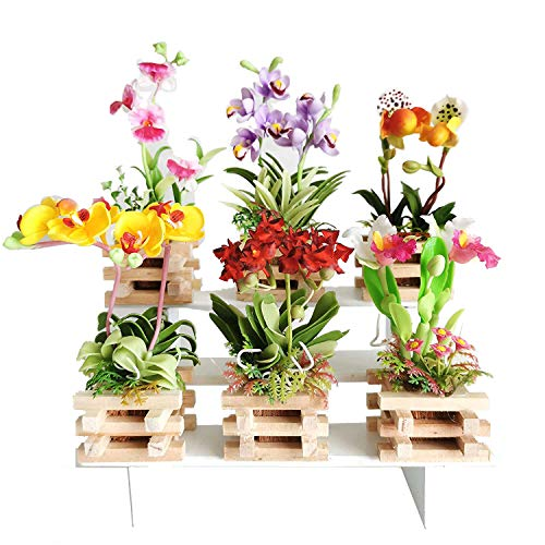 6 Miniatures Orchid Artificial Flower Clay Pots Size M