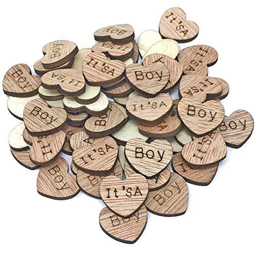 100 X It's a Boy 15 mm cœurs en bois style shabby chic vintage craft Scrapbooking embellissements Confetti Cœur