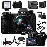 Panasonic Lumix DC-S1R Mirrorless Digital Camera with 24-105mm Lens (DC-S1RMK) - Bundle - with Sony XQD 240GB Card + Panasonic DMW-BLJ31 Battery + LED Light + Soft Bag + 12' Flexible Tripod + More