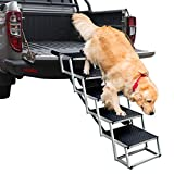 By Unbranded Dog Ramps with 5 Stairs, Upgraded Aluminum Frame Pet Steps for SUV, Cars, High Beds, Portable and Folding Stair for Large Dog up to 200Lbs with Light Weight and Non-Slip Surface