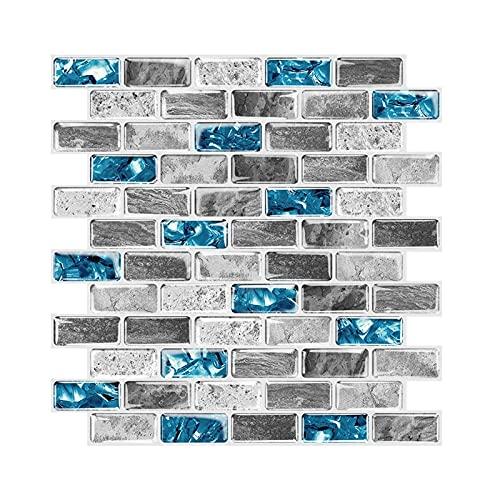 Azulejos Adhesivos 3D Cocina, 5 piezas Pegatina de Pared Pegatinas de Baldosas Stick on Tiles Azulejos de Gel para Cocina Baño Decoración 30.5 x 30.5cm
