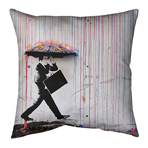 New ArtVerse Banksy Graffiti Business Man Walking Through Rainbow Rain Off-Centered Floor Pillow - S...