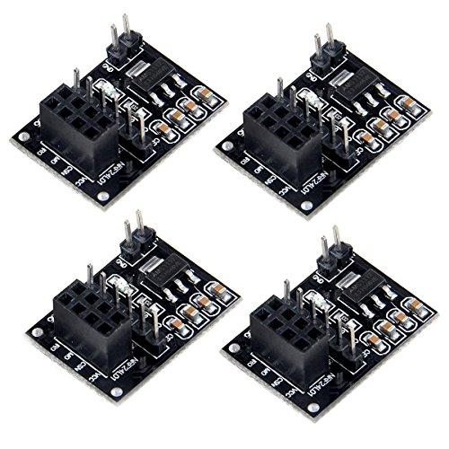 MakerHawk NRF24L01 Módulo inalámbrico adaptador 3.3V para NRF24L01 + Transceptor inalámbrico 51 microcontrolador y bricolaje (4PCS)