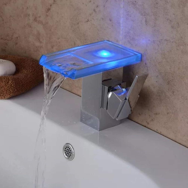 チーフ酸素囚人HYH 水力発電LED光温度制御色ファッションガラス盆地滝蛇口 美しい人生