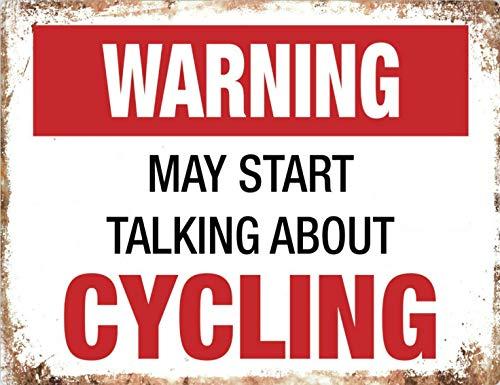 MiMiTee waarschuwingsbord voor op de fiets, vintage, metalen waarschuwingsborden, ijzer-kunstplak, hangend, poster voor auto, promi, tuin, café, bar, pub, openbaar cadeau